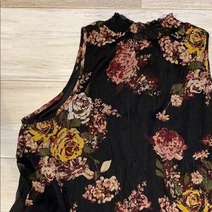 Chenault Tops - Chenault Black Floral Metallic High Collar Top